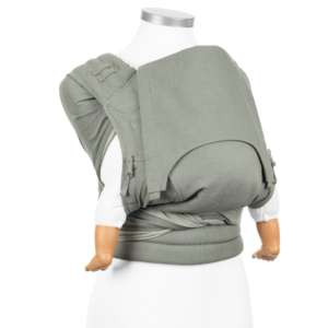 Porte bébé BIO tissu gris denim, évolutif, écharpe Fidella