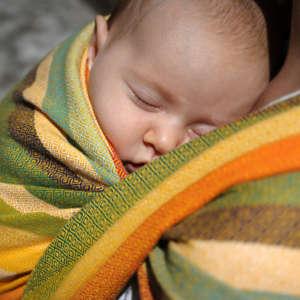 écharpe de portage multicolore tissée coton Girasol