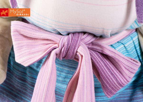 Porte bébé physiologique en tissu pastel noeud