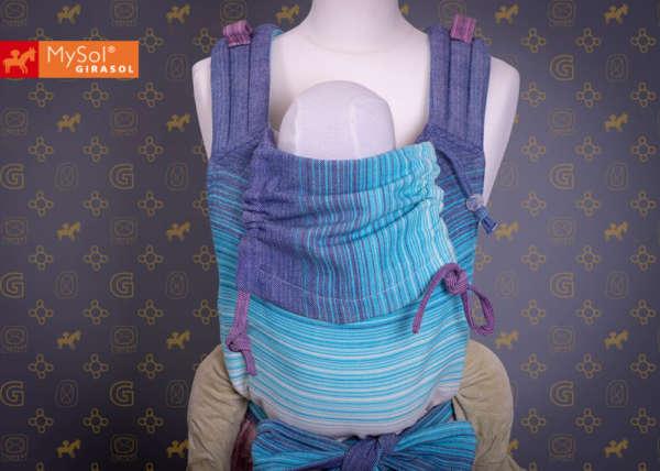 Porte bébé physiologique en tissu pastel bleu Girasol