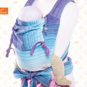 Porte bébé physiologique en tissu pastel bleu