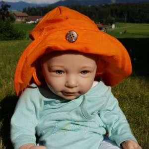 Chapeau bébé anti uv naturel manymonths et évolutif orange