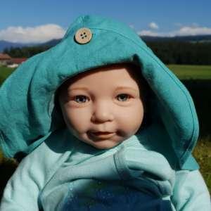 Chapeau bébé anti uv naturel manymonths et évolutif turquoise