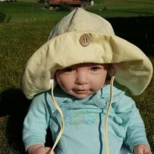 Chapeau bébé anti uv naturel manymonths et évolutif jaune pale