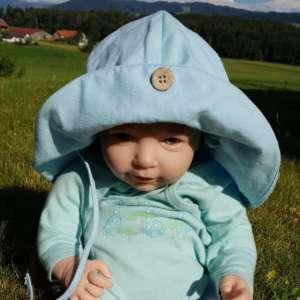 Chapeau bébé anti uv naturel manymonths et évolutif bleu