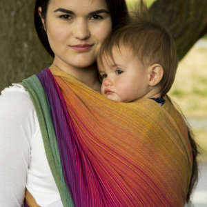 écharpe de portage tissé multicolore en sergé croisé girasol